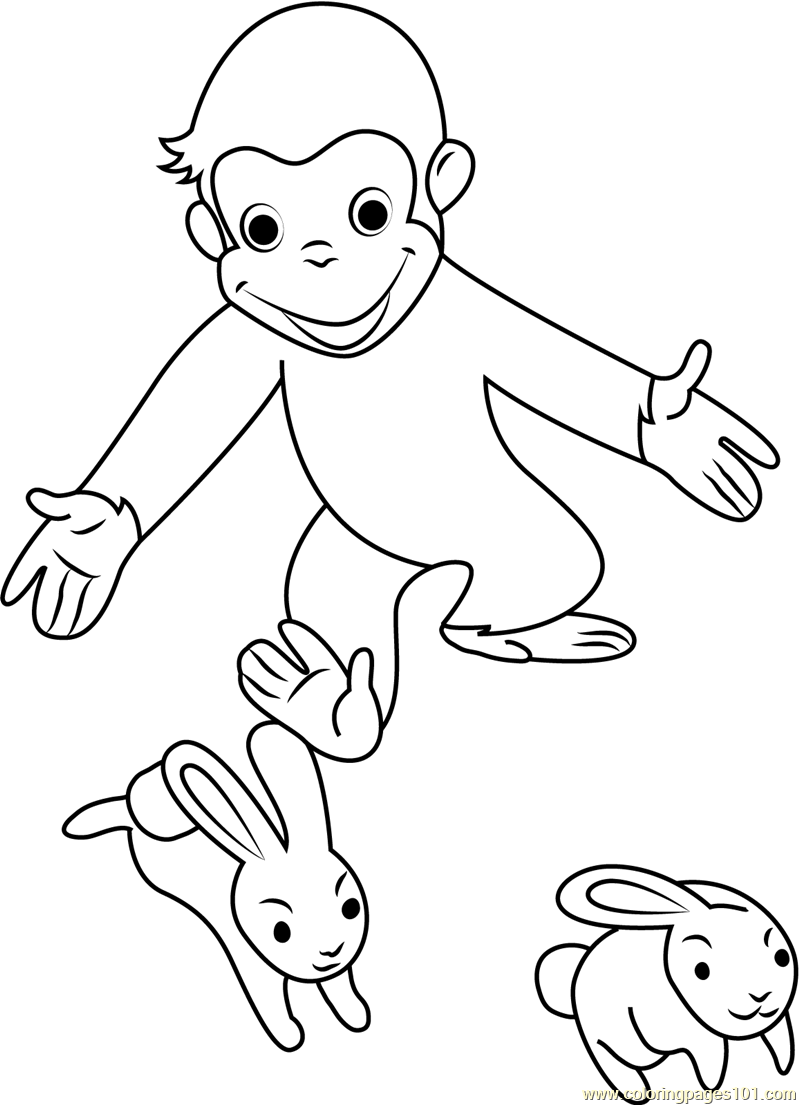 Curious George Playing With Rabbit Coloring Page Free Curious