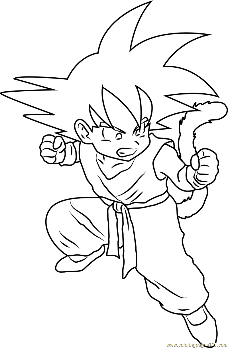 Angry Kid Goku Coloring Page Free Pages