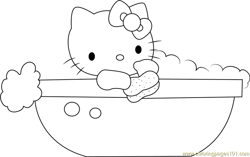 Hello Kitty In Bathtub Coloring Page Free Hello Kitty