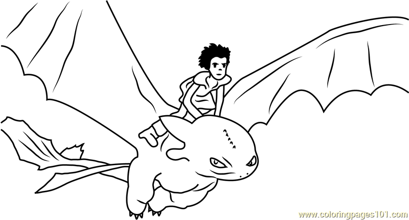 hiccup horrendous flying with toothless coloring page free how
