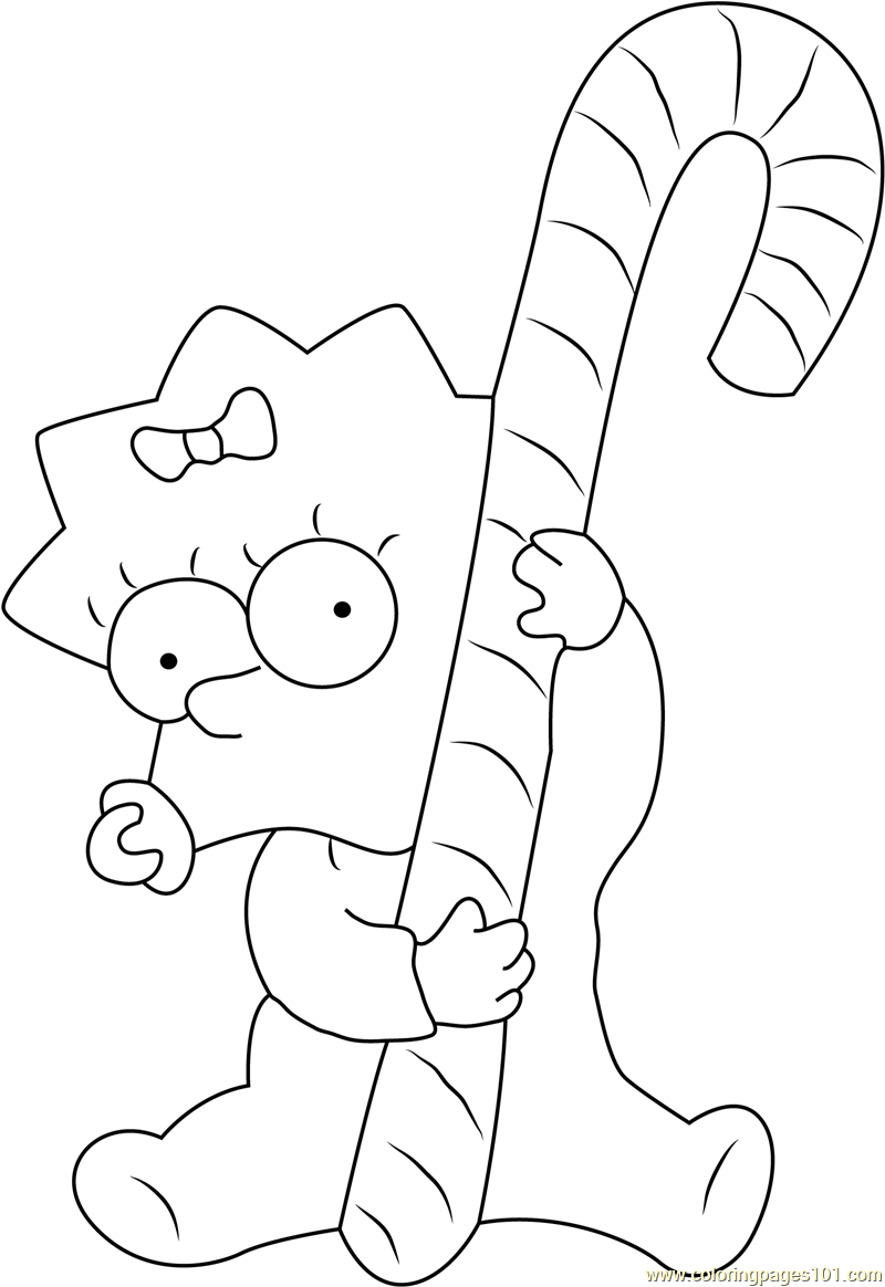 Maggie Xmas Coloring Page Free Maggie Simpson Coloring