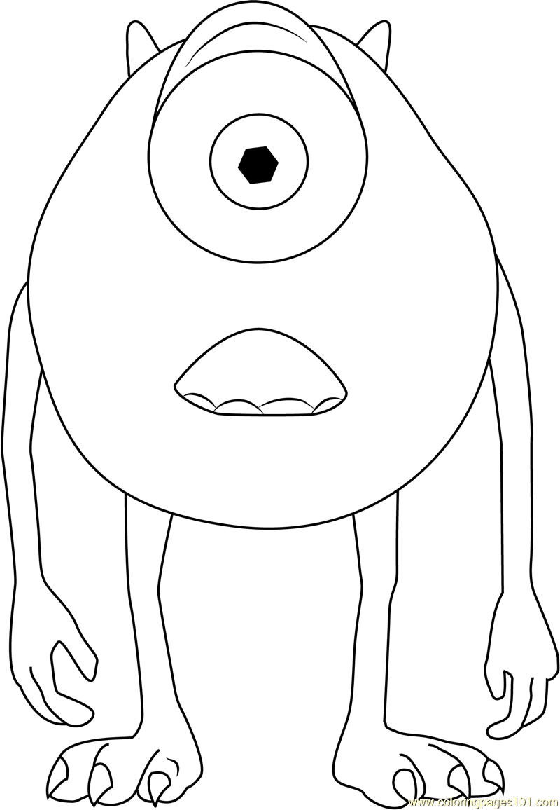Michael A Green Monster Coloring Page Free Monsters Inc