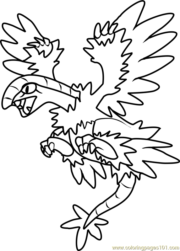 Archeops Pokemon Coloring Page Free Pokmon Coloring