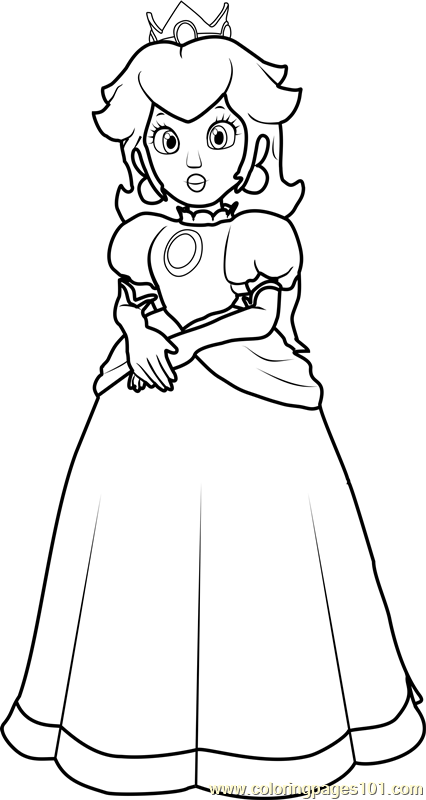 Princess Peach Coloring Page Free Super Mario Coloring Pages Coloringpages101 Com