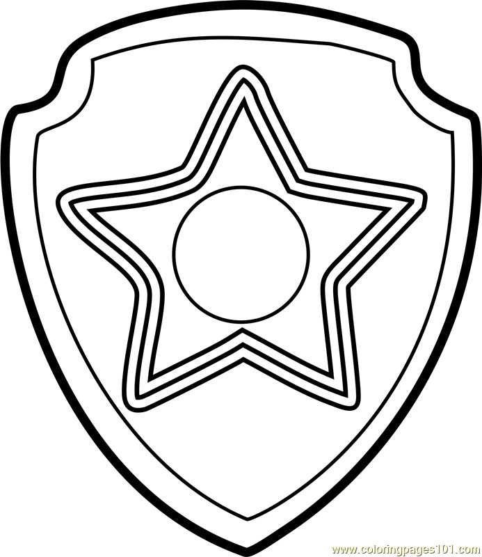 Chase Badge Coloring Page Free Paw Patrol Coloring Pages Coloringpages101 Com