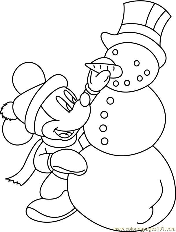Mickey Mouse With Snowman Coloring Page Free Snowman