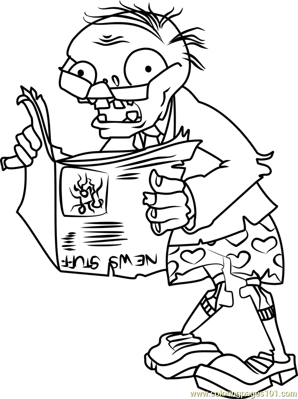 Newspaper Zombie Coloring Page Free Plants Vs Zombies