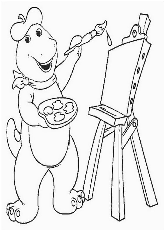 barney painting coloring pages 7 com jpg