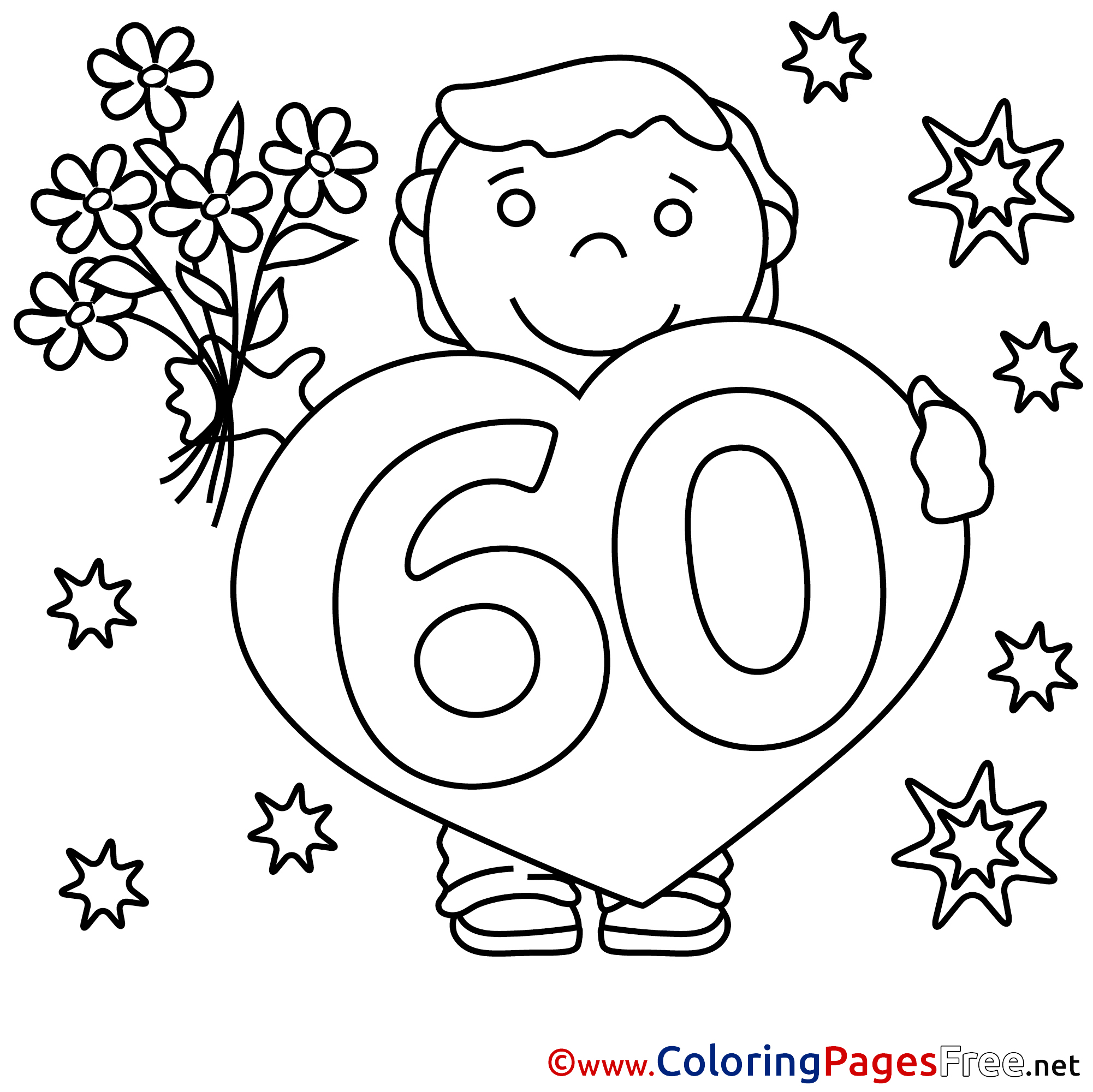 60 Years Bouquet Children Happy Birthday Colouring Page