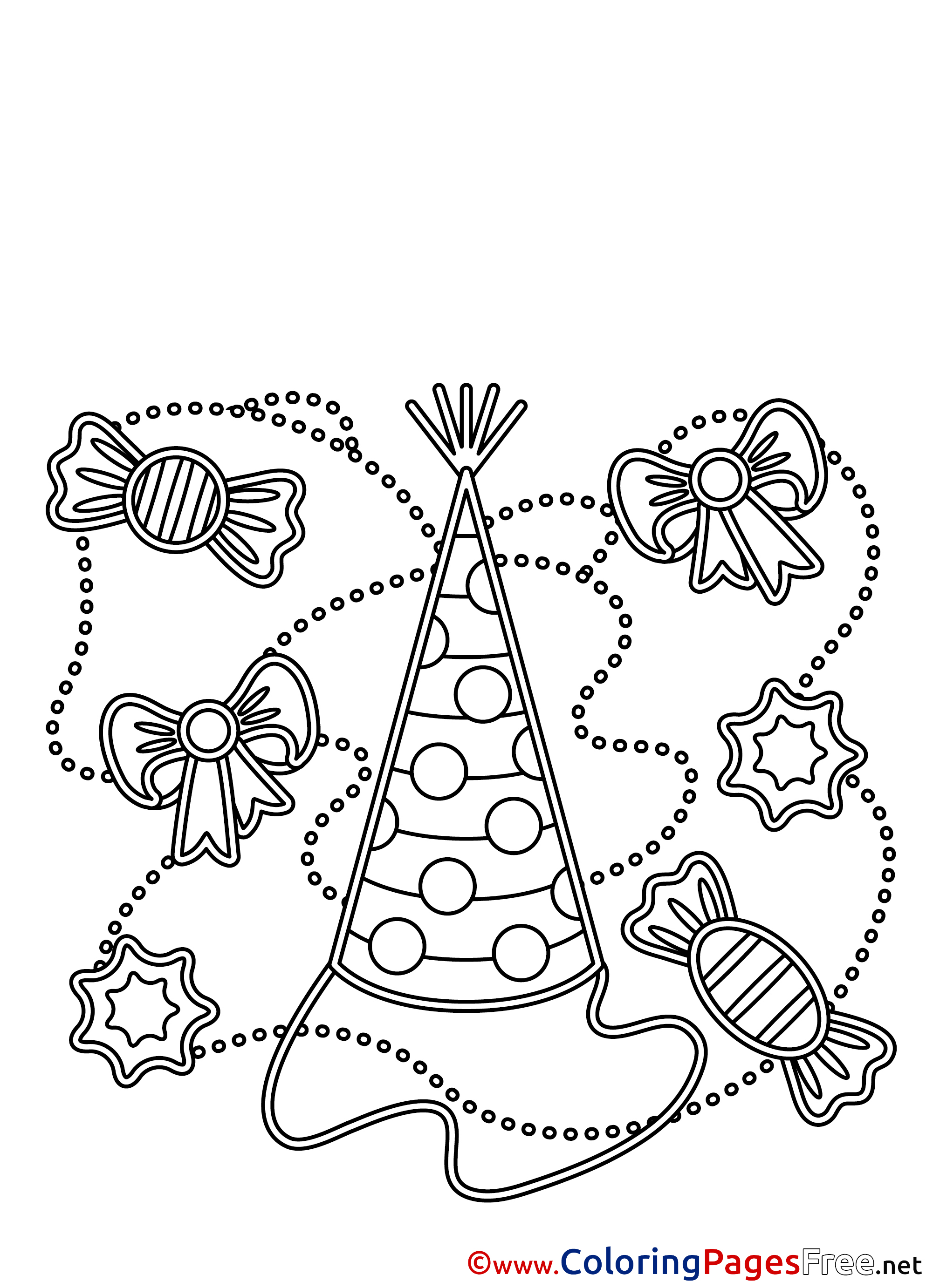 Birthday Party Hat Clip Art Sketch Coloring Page