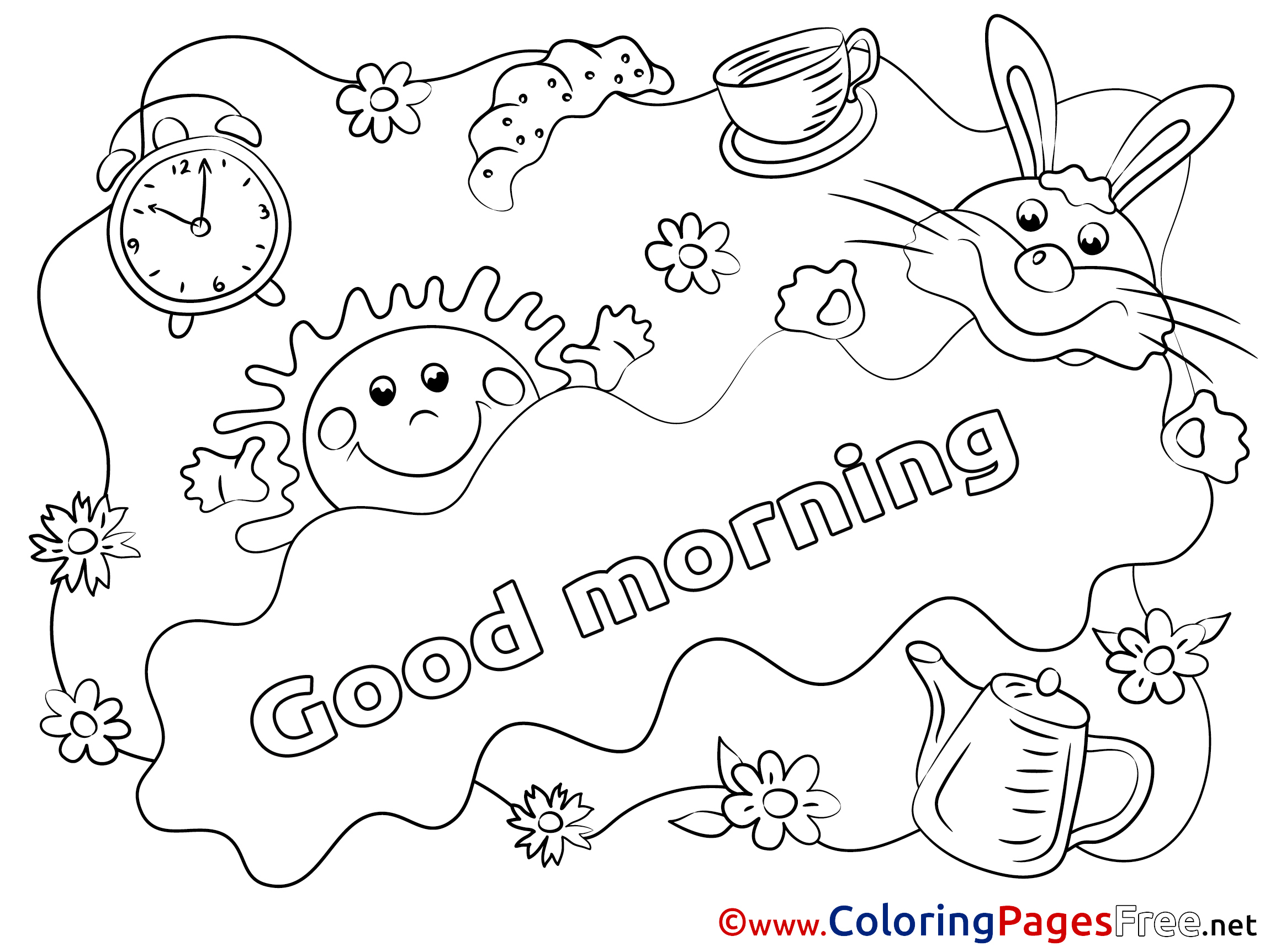 Good Morning Coloring Page Sketch Coloring Page