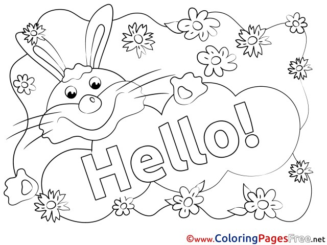 Rabbit Hello Coloring Pages free