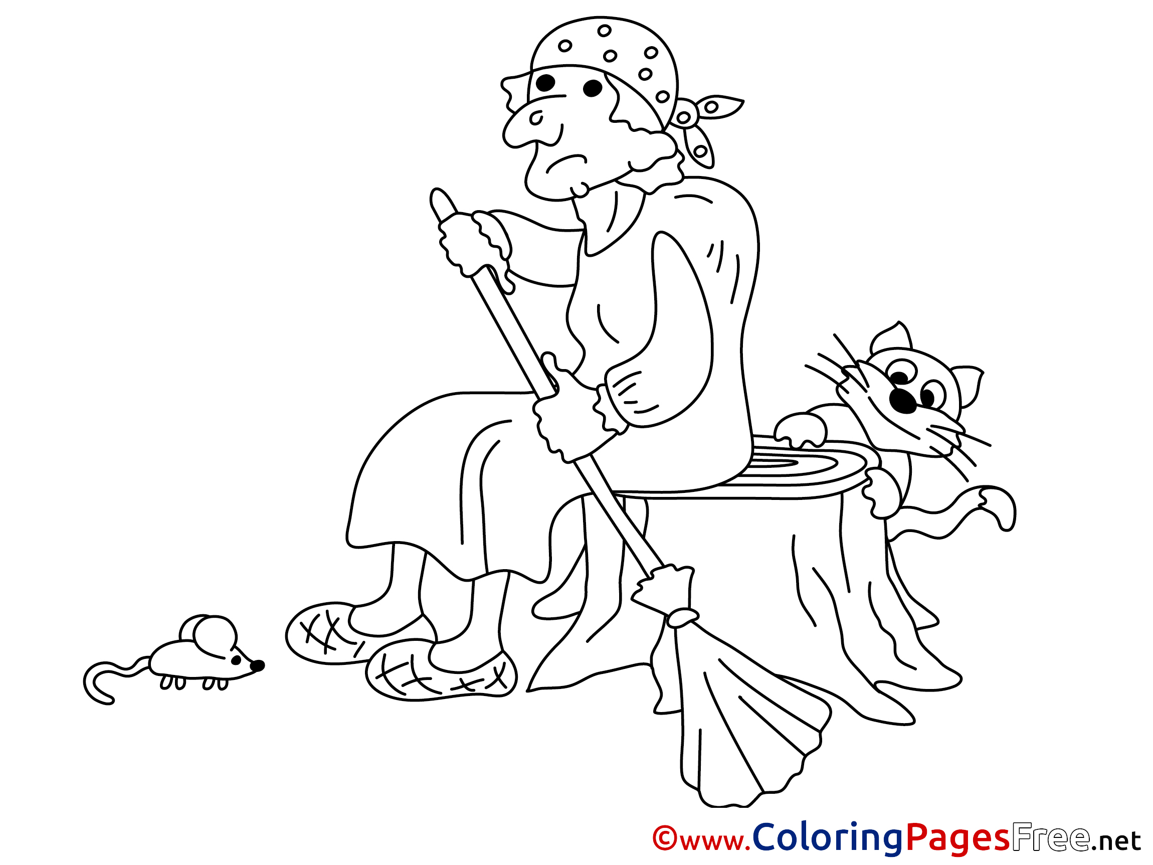 Cat With Baba Yaga Kids Free Coloring Page