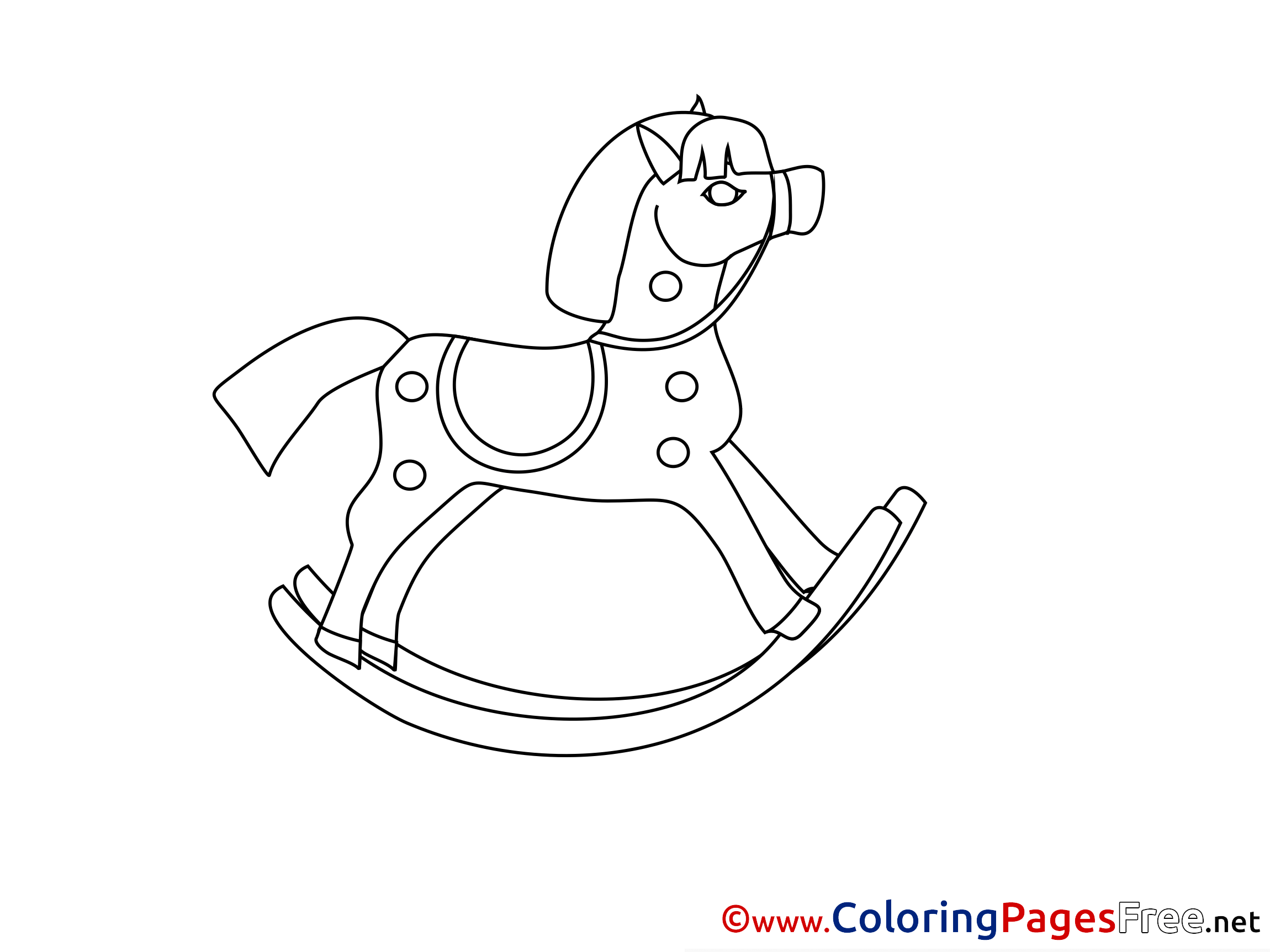 Rocking Horse Kids Free Coloring Page