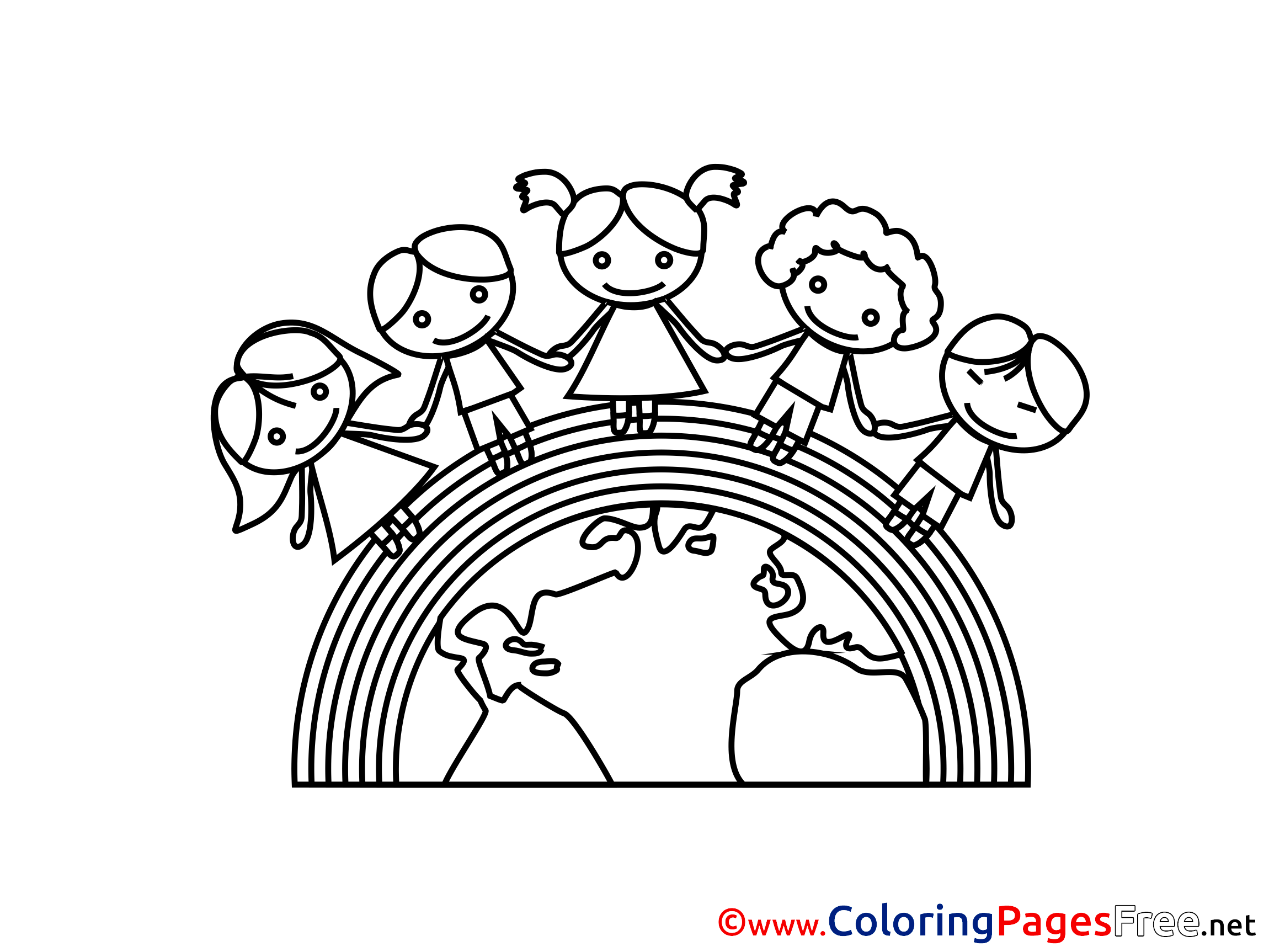 Rainbow Kids Earth Download Colouring Sheet Free
