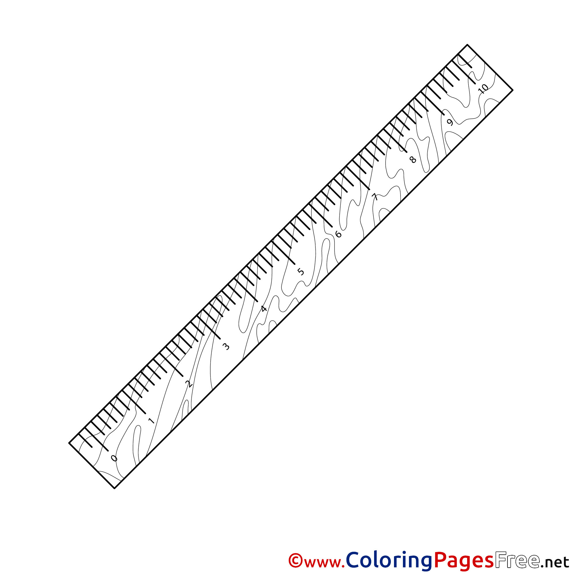 Ruler For Kids Printable School Colouring Page