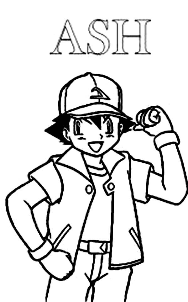 ash ketchum winning pose on pokemon coloring page