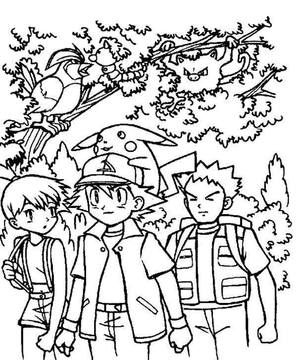 ash ketchum and friends on pokemon coloring page