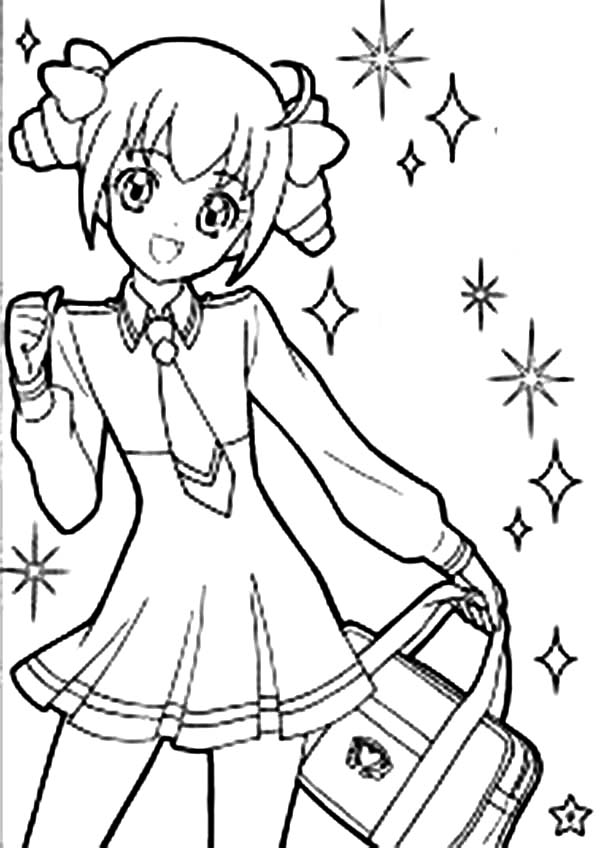 cute girl anime character coloring page coloring sky