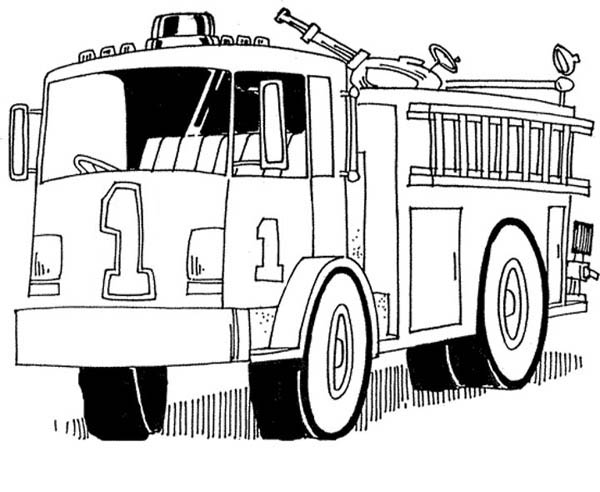 fire truck helping firefighter kill the fire coloring page