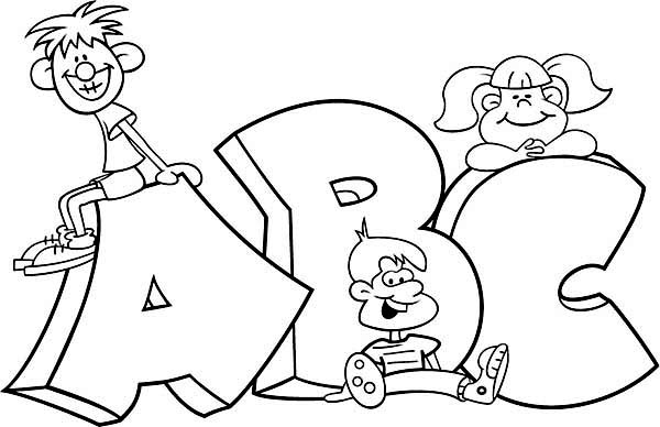 learning abc with cartoon characters coloring page coloring sky