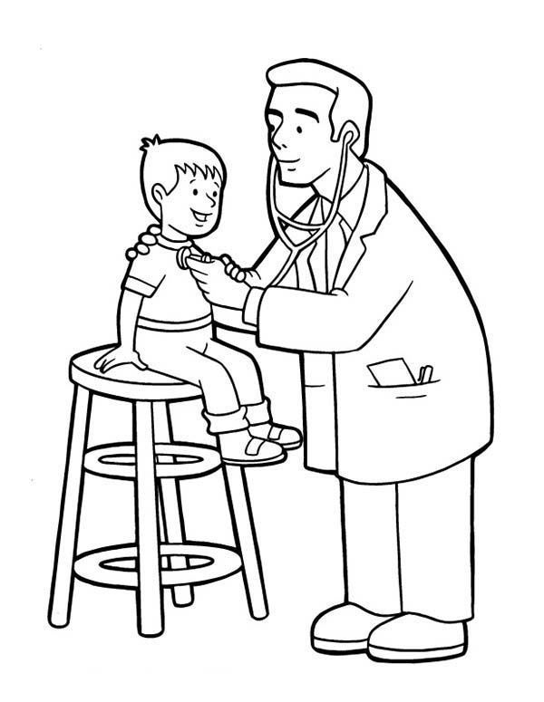 doctor doing medical check up for little boy coloring page