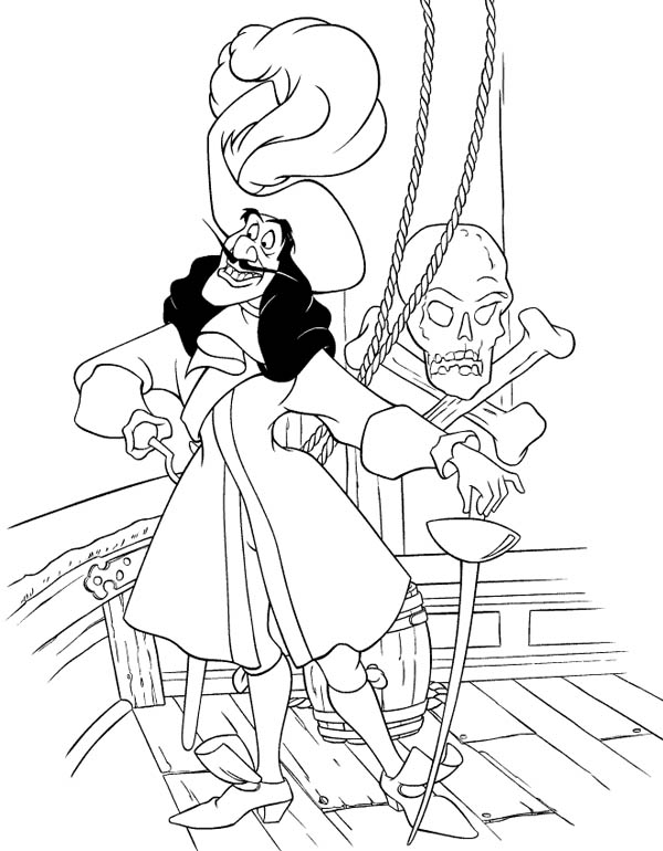 Peter Pans Enemy Pirate Captain Hook Coloring Page Peter