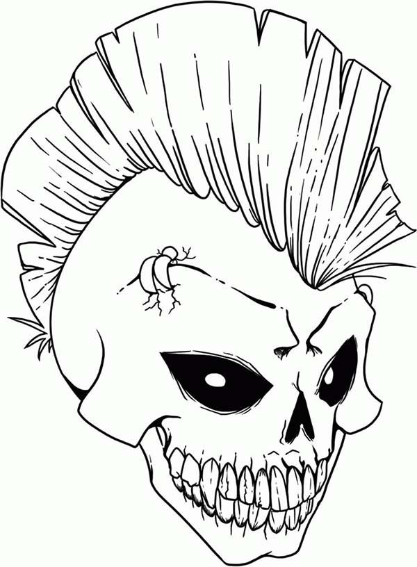 punk rock skull coloring page punk rock skull coloring page