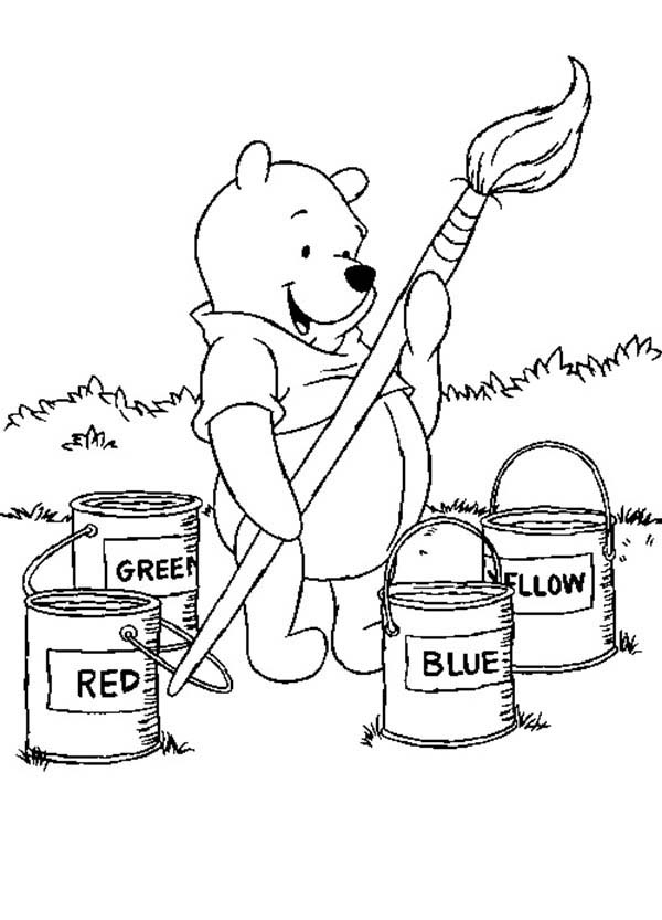 Winnie The Pooh Big Brush And Paint Bucket Coloring Page