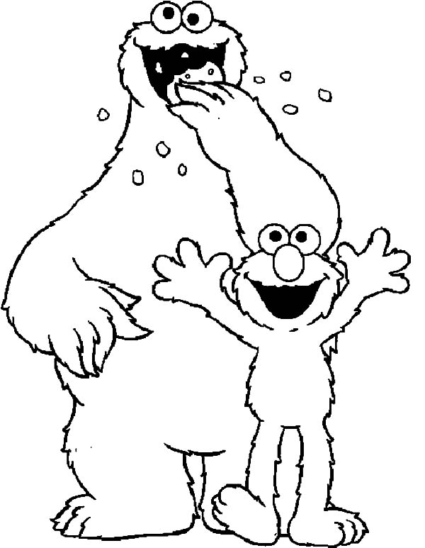 Cookie Monster And Elmo Coloring Pages Coloring Sky