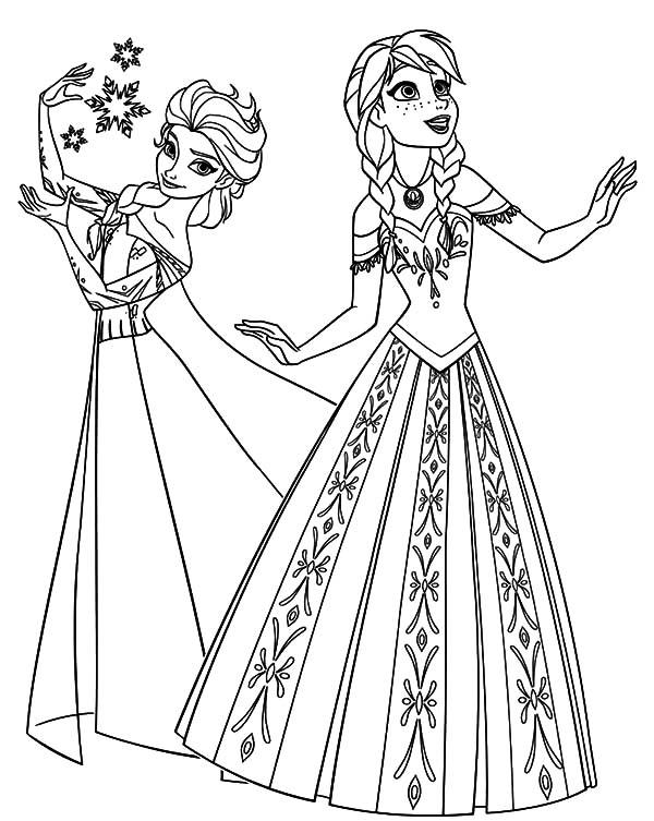 disney frozen queen elsa and princess anna coloring pages disney