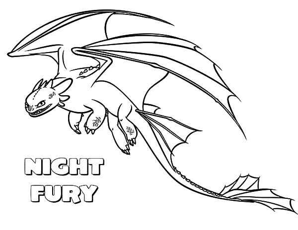 toothless night fury color pages