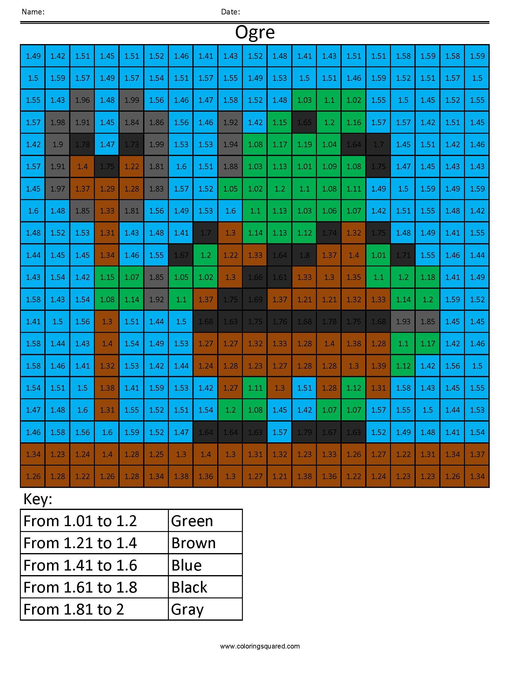 Dp5 Ogre Color Free Fractions Decimals Percent Worksheet