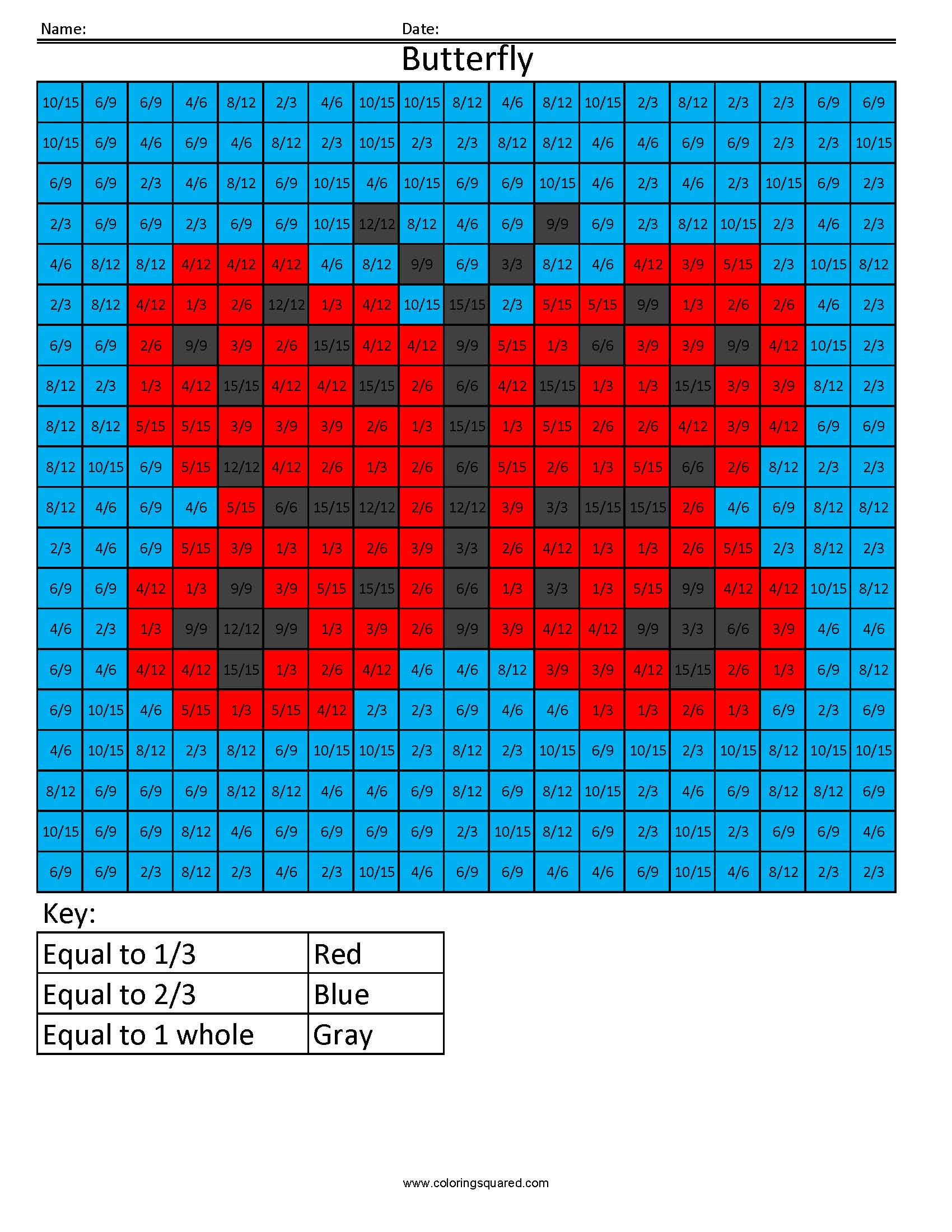 Ff1 Butterfly Color Free Fractions Decimals Percent