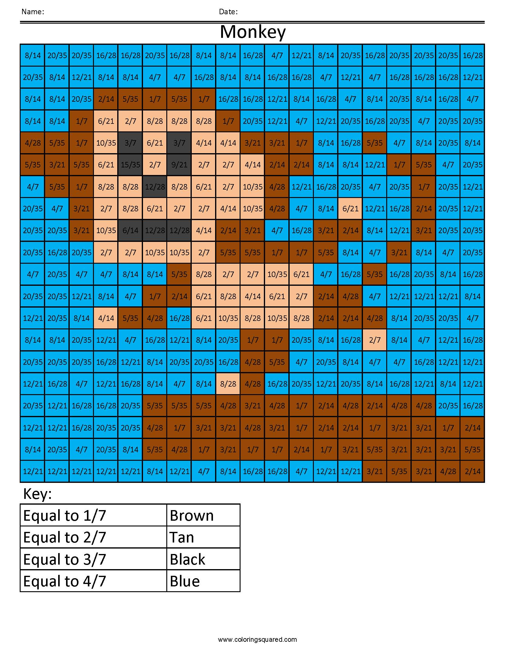 Ff5 Monkey Color Free Fractions Decimals Percent Worksheet