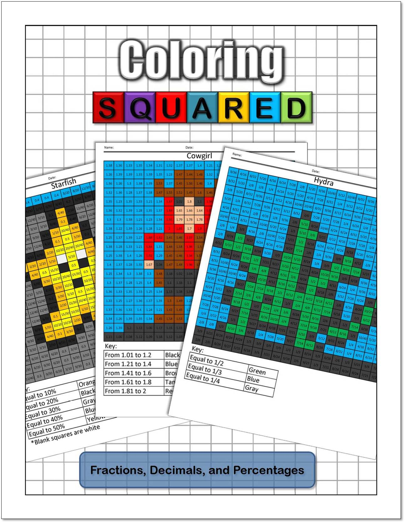 Coloring Squared Fractions Decimals And Percentages