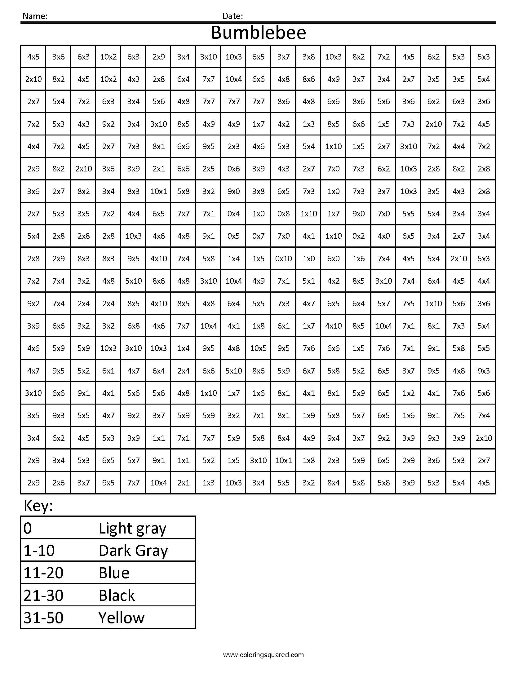 5 Bumblebee 2 Multiplication Division Math Worksheets