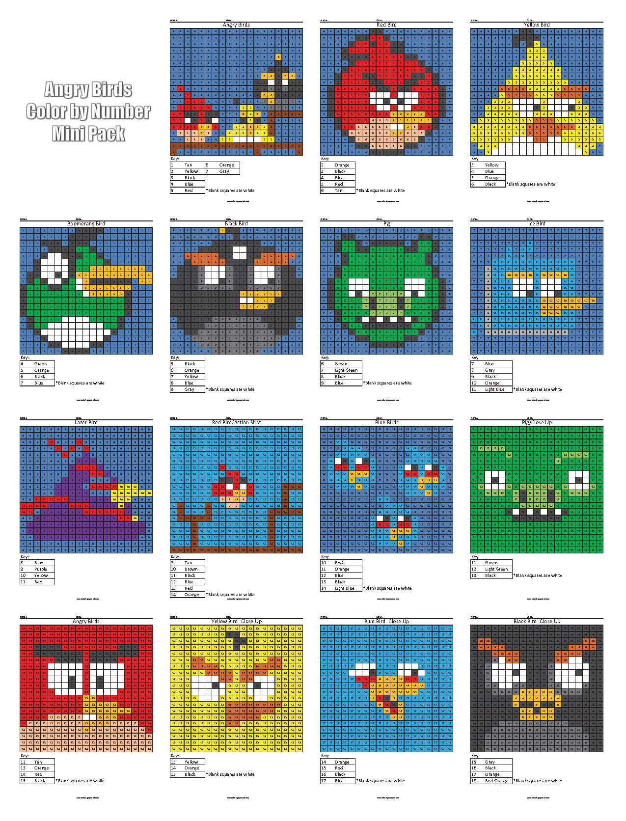 Angry Birds Color By Number