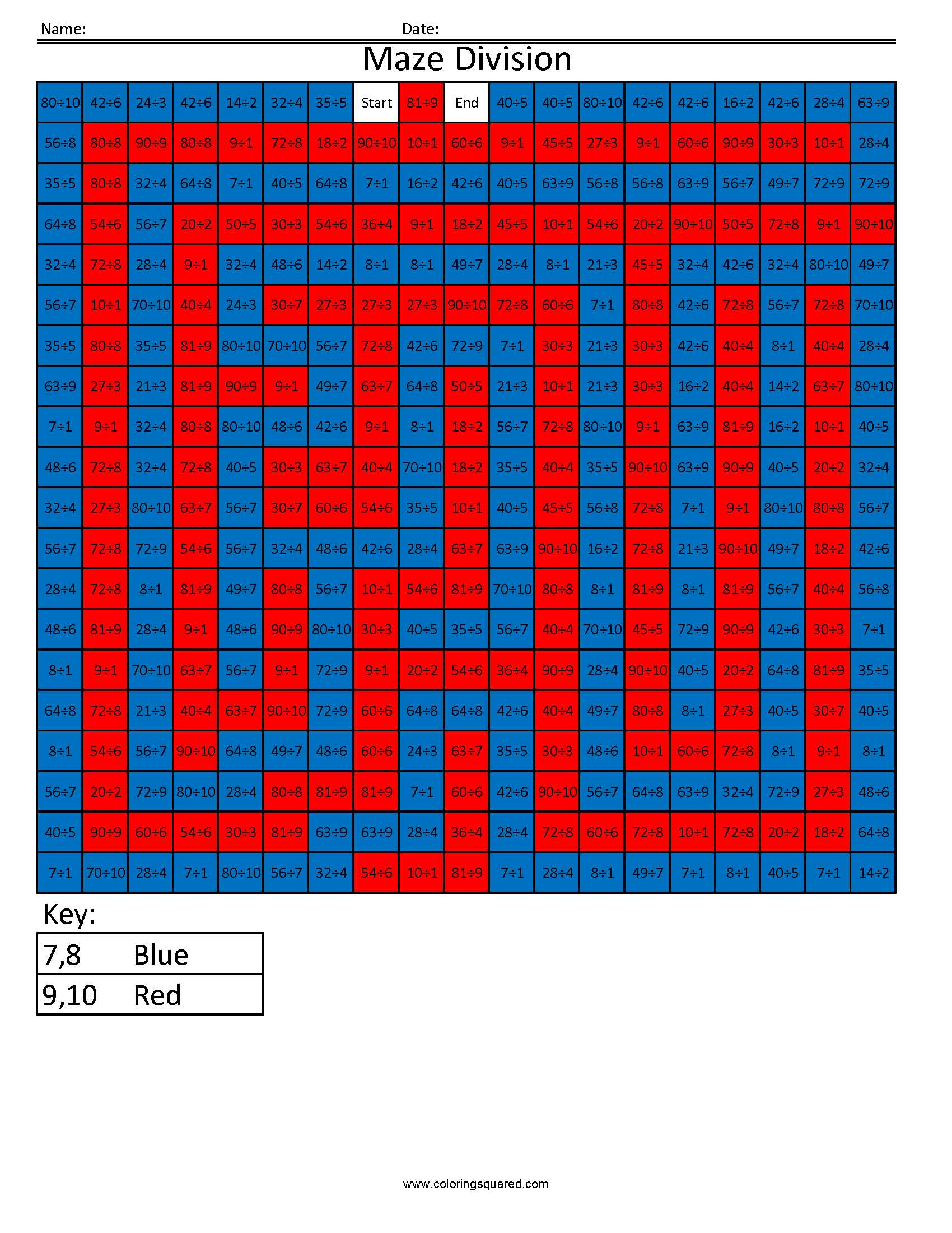 3dd10 Maze Division Division Math Fact Worksheets Common
