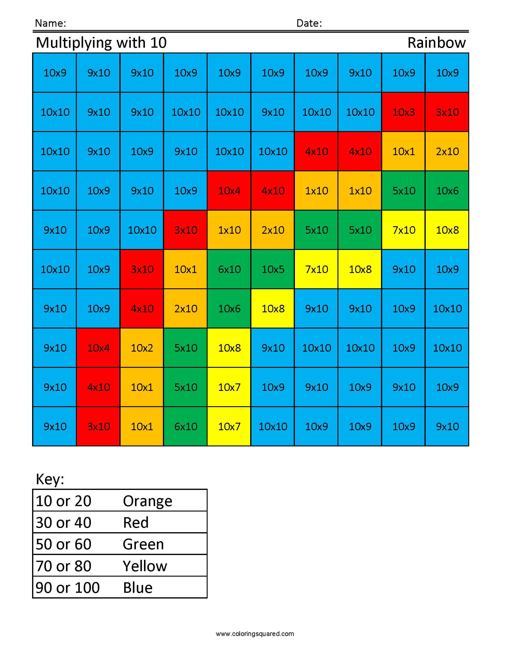 Jm10 Rainbow Free Multiplication Times Table Practice