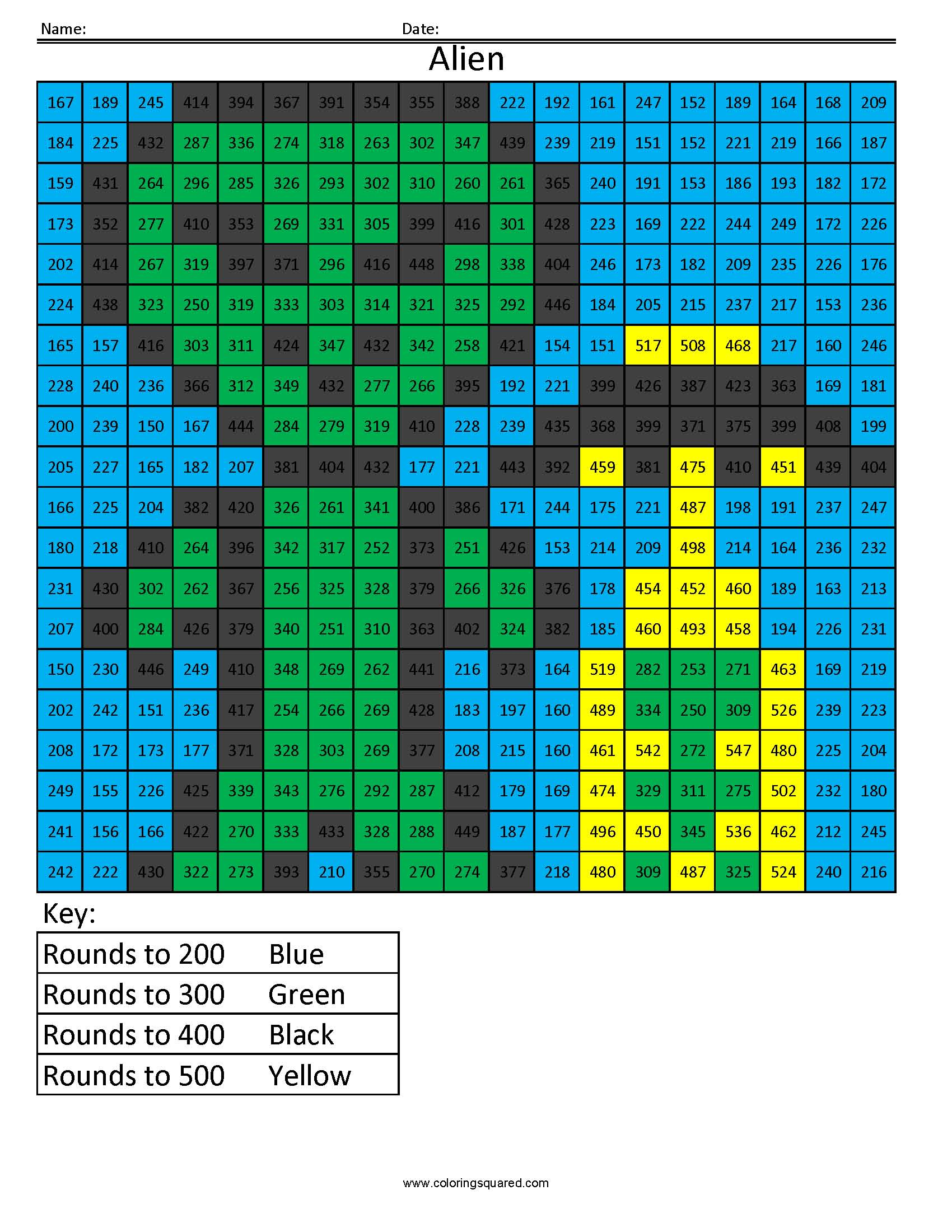 Rh2 Alien Free Rounding Math Worksheets For Kids
