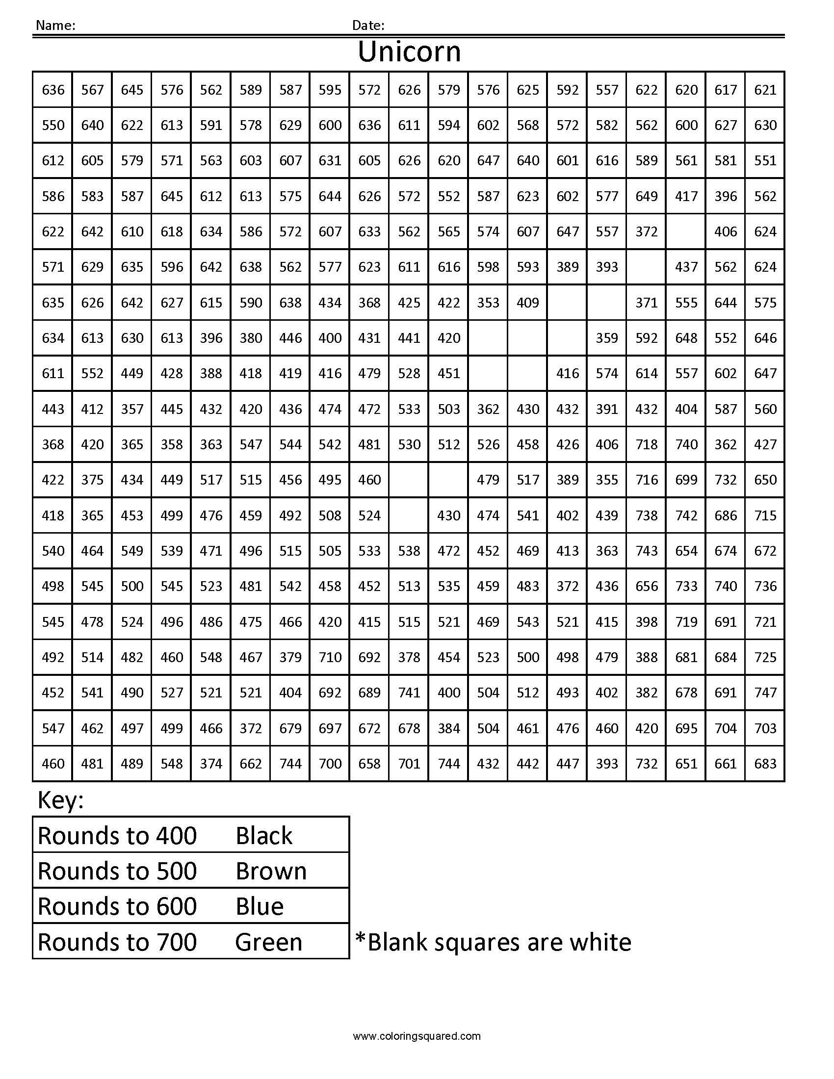 Rh4 Unicorn Free Rounding Math Worksheets For Kids