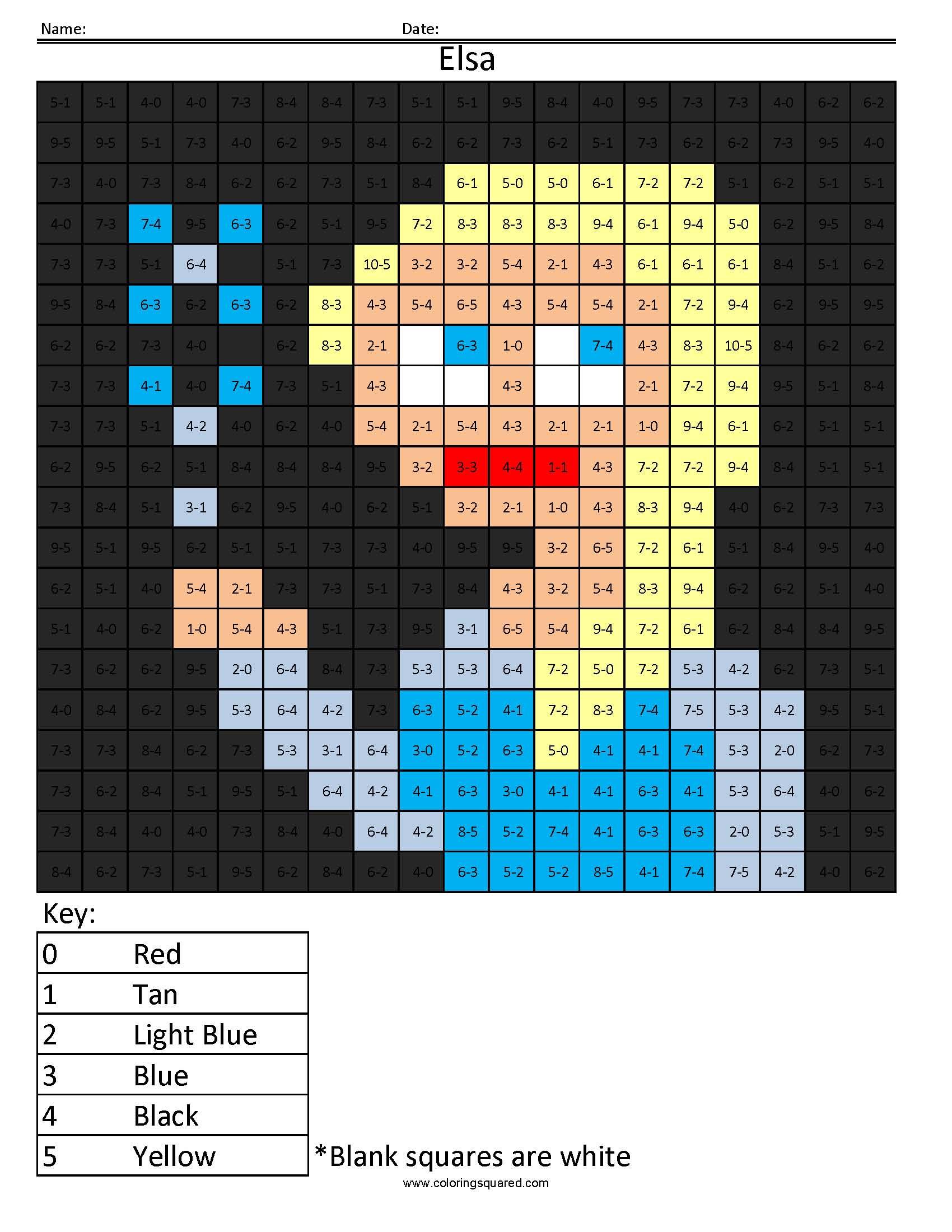 Elsa Basic Subtraction Answer Key