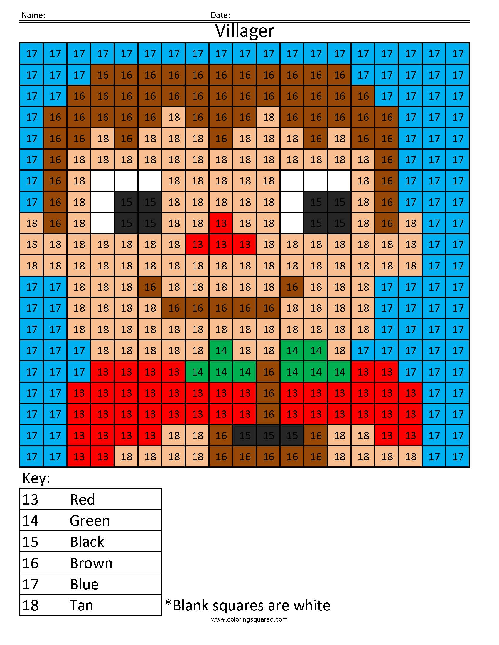 Villager Color By Number