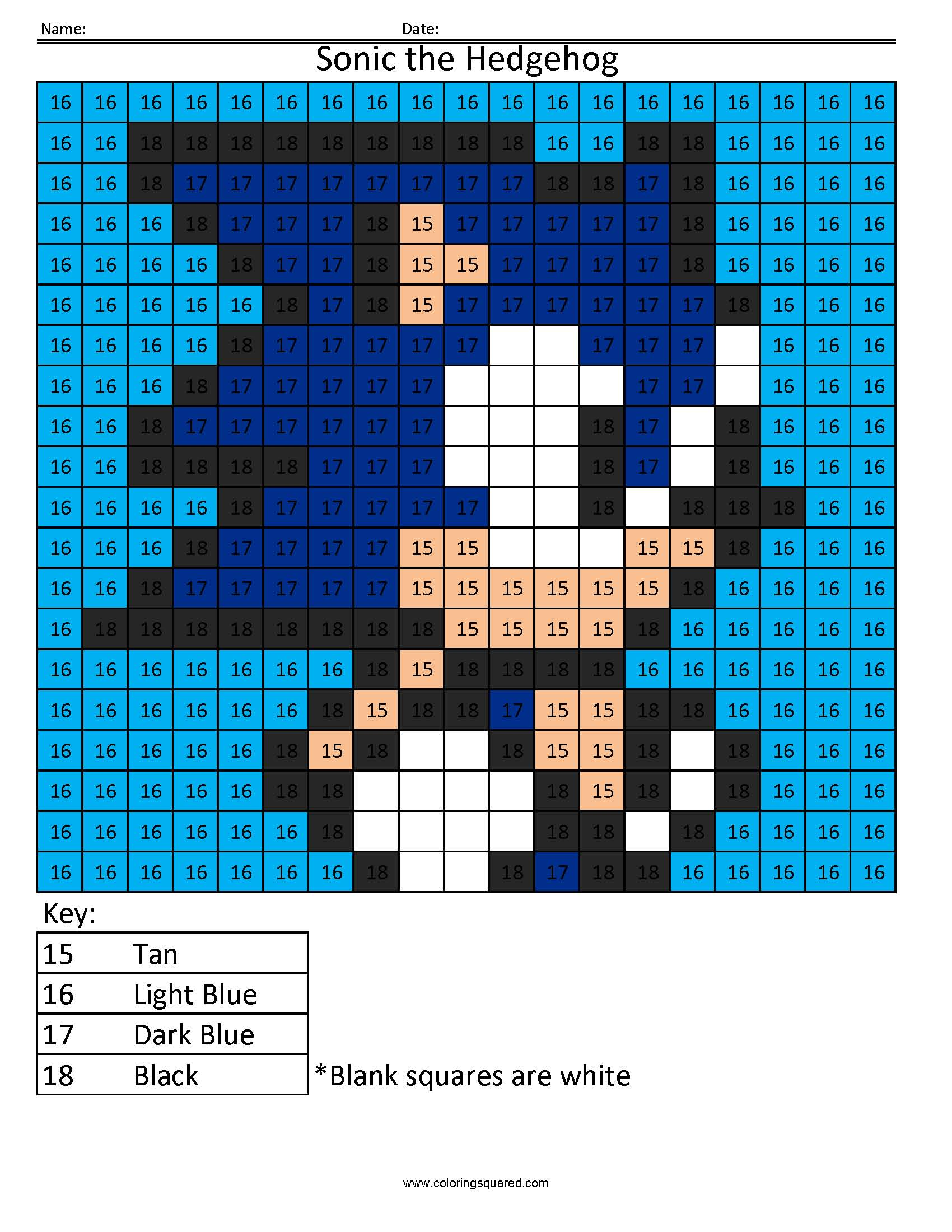 Sonic The Hedgehog Color By Number