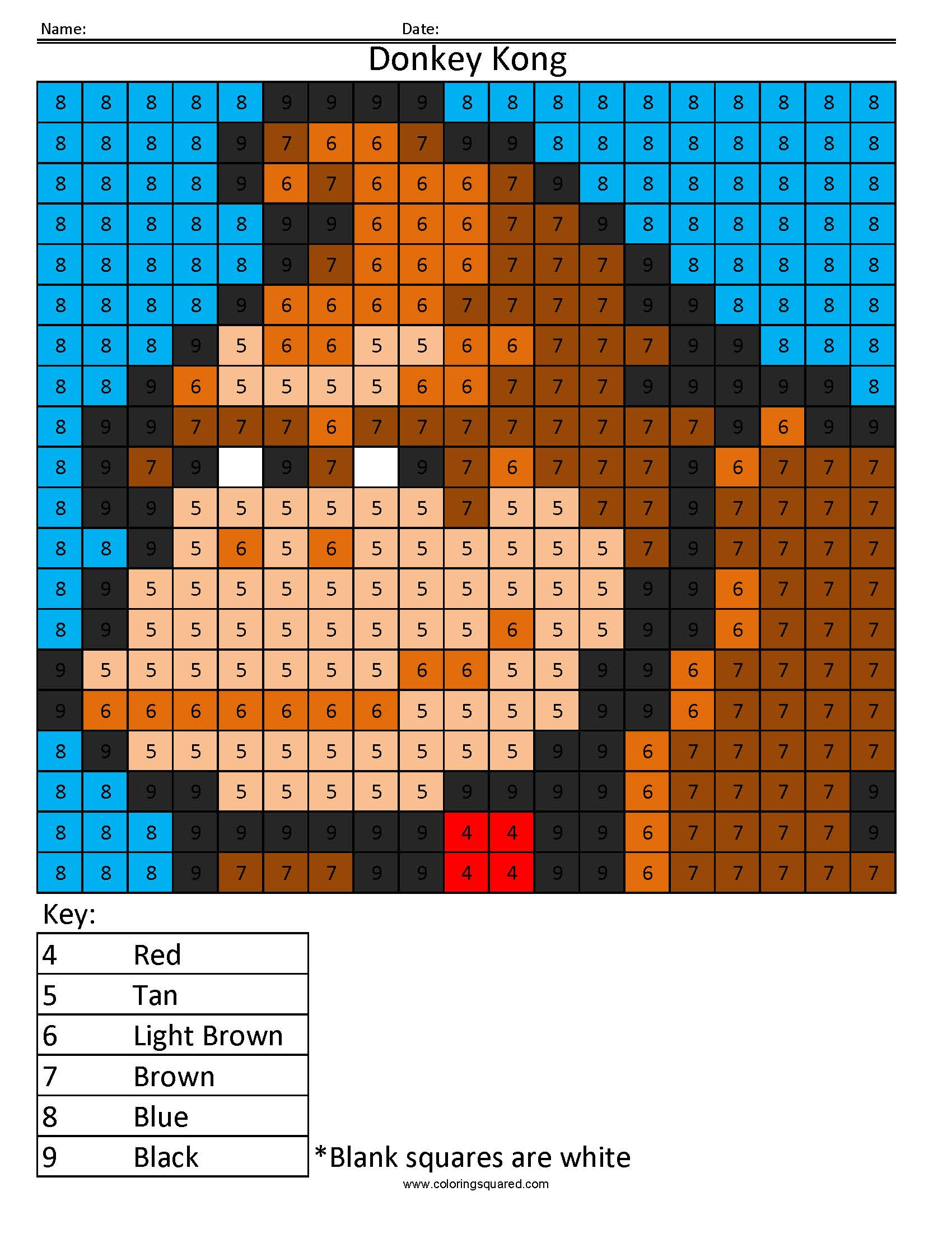Donkey Kong Color By Number