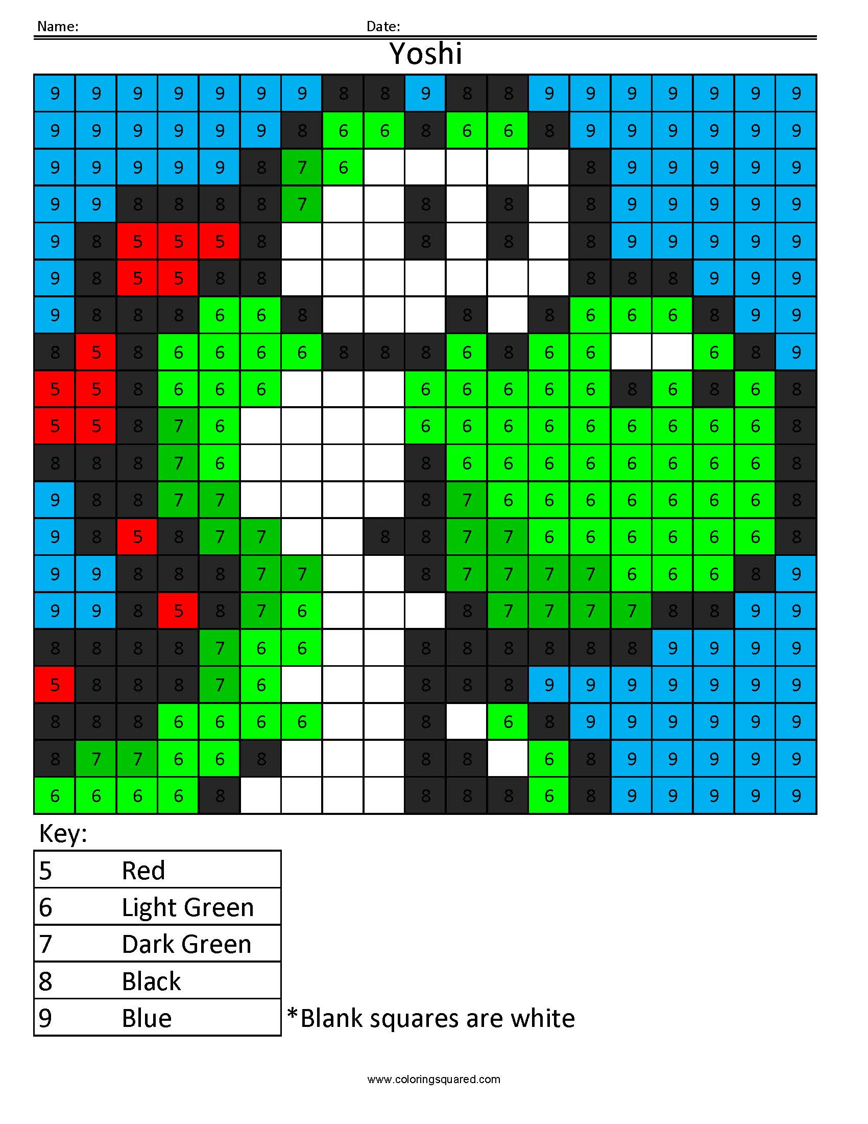 Yoshi Color By Number