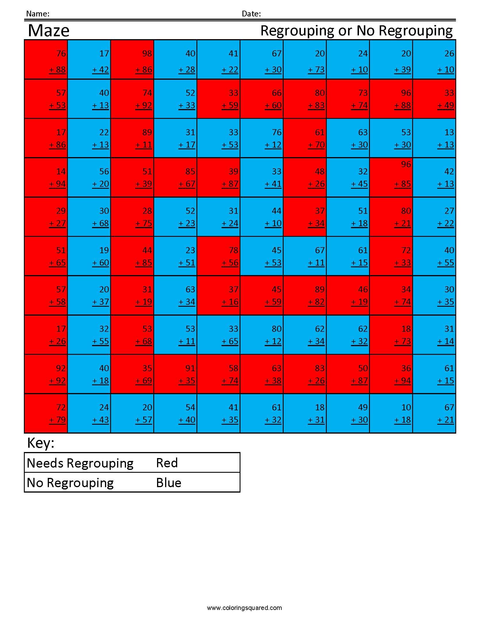 Ra5 Maze Addition Regrouping Cool Math Worksheets