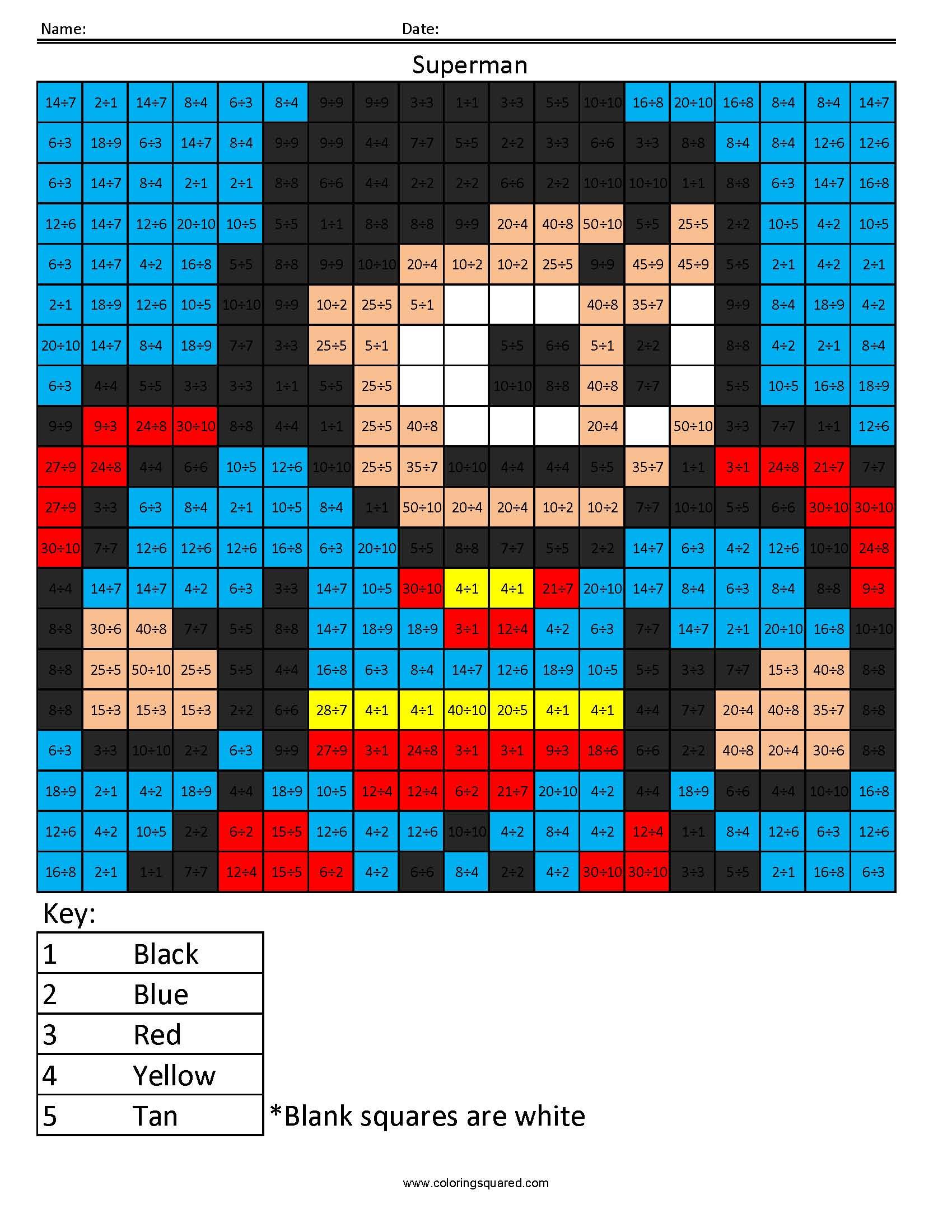 Superman Color By Number Worksheet