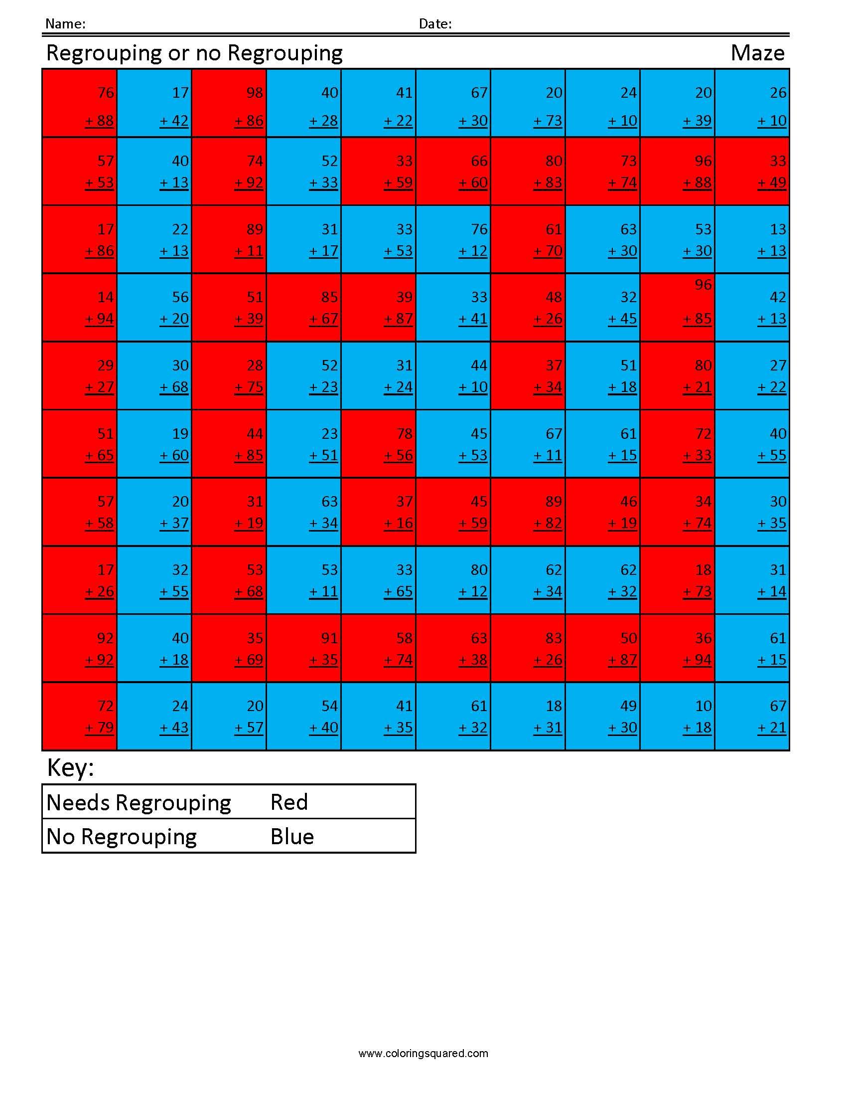 1g35 Regrouping Maze First Grade Math